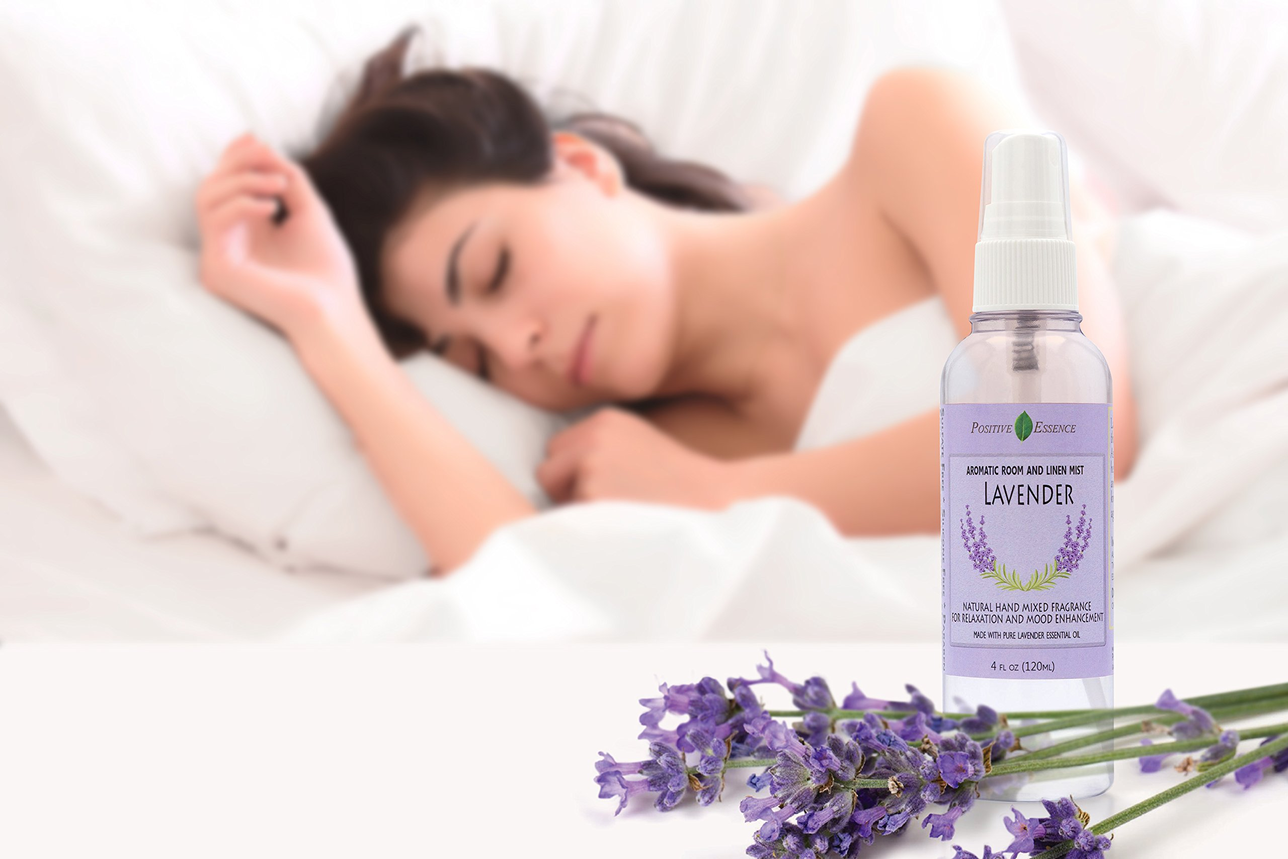 Positive Essence Lavender Linen & Room Spray - Natural Aromatic Mist Made with PURE LAVENDER ESSENTIAL OIL - Relax Your Body & Mind – Refreshing Non-Toxic Air Freshener Odor Eliminator by Positive Essence (Image #4)