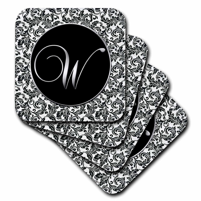 3drose Cst 38772 3 Letter W Damask Ceramic Tile Coasters Set Of 4 Black White