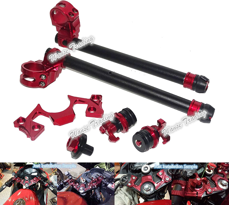 Red waase motorcycle Adjustable Handlebars Clip On Bar Ends Fork Adjusters Yoke Nut Guard Pad Set For Kawasaki Ninja 250 300 2013 2014 2015 2016