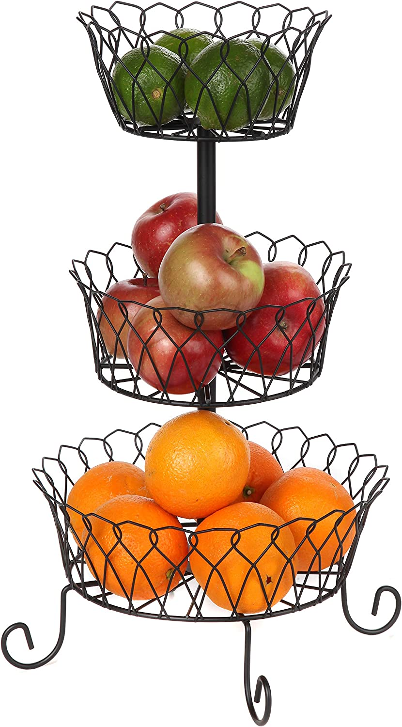 Trenton Gifts Three Tier Wire Basket   Black   Great For Fruits, Vegetable & More