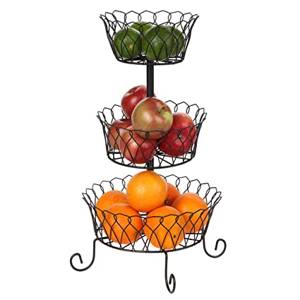 Amazon.com - Carol Wright Gifts 3-Tier Wire Basket, Black, One Size Fits All - Home Decor Gift Packages