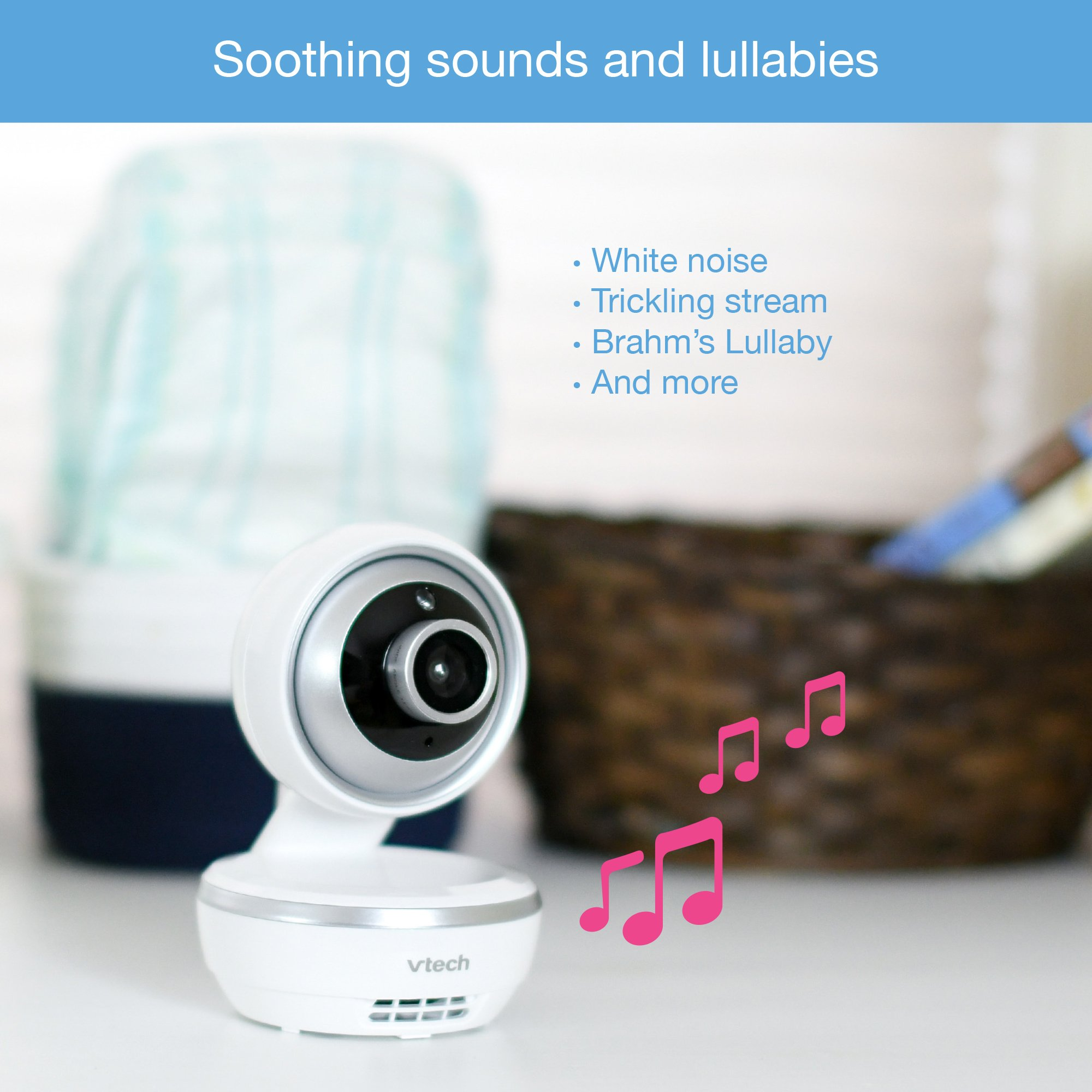 "VTech VM5261 5"" Digital Video Baby Monitor with Pan & Tilt Camera, Wide-Angle Lens and Standard Lens, White by VTech (Image #7)"