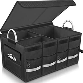 Car Trunk Organizer Sturdy Side Walls and Strong Carrying Handles Oxford Cloth Material Multi Compartments Non Slip Bottom Collapsible Storage Car Trunk Storage Box with Reinforced Base Plates