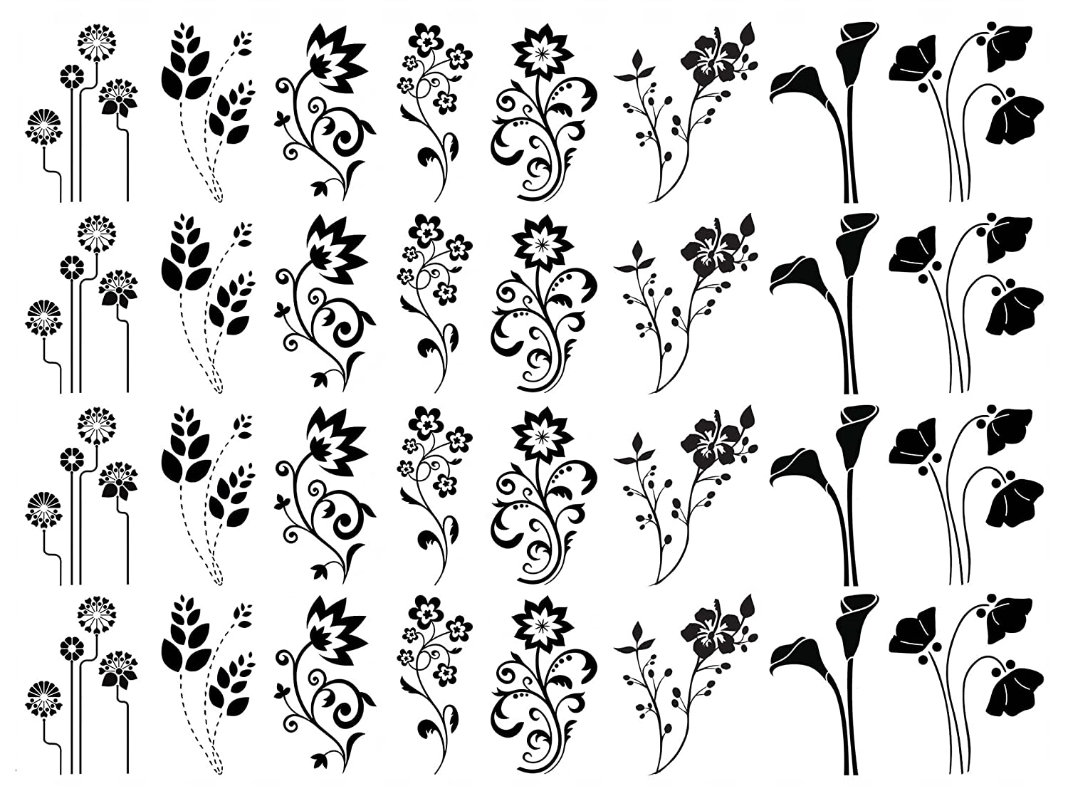 Fantasy Flower 1-1//4 Black 17CC895 Fused Glass Decals