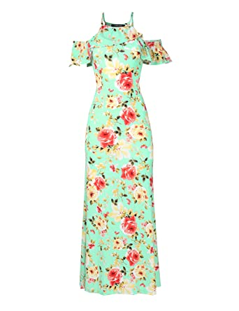 08f4071d2638 Awesome21 Women Beach Wedding Guest Floral Cold Shoulder Maxi Dress Made in  USA at Amazon Women's Clothing store: