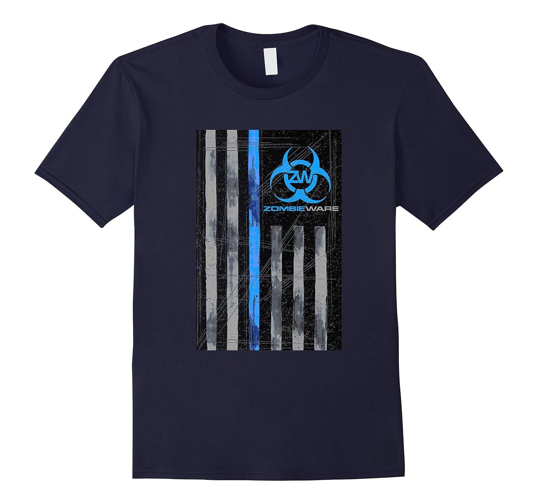ZombieWare Blue Stripe LEO Flag T-Shirt-TH