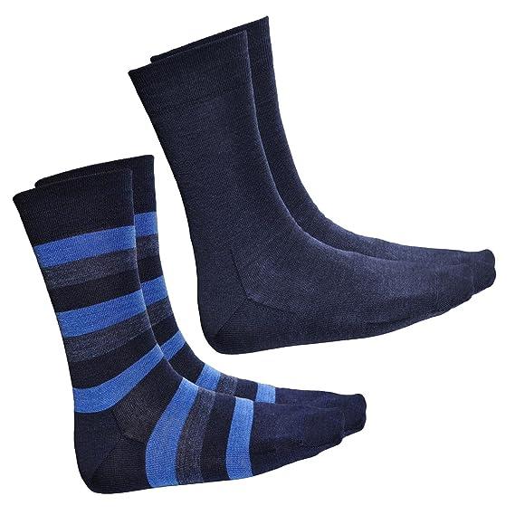 vitsocks Calcetines Hombre LANA MERINO Invierno (2 PARES: Rayados y Azules Lisos) Calientes