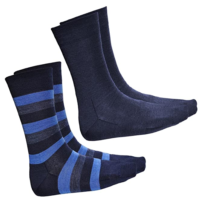 Vitsocks MERINO Socks Men (2 PACK: Striped, Plain Blue) Warm Comfy Quality Wool at Amazon Mens Clothing store: