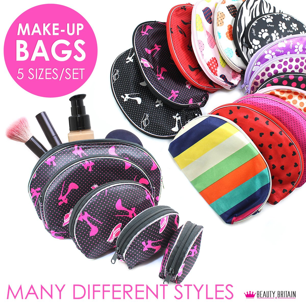 100 х MAKE-UP BAGS 20 SETS X 5 BAGS DIFFERENT STYLES COSMETIC BAGS WHOLESALE UK Fashion