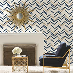 "RoomMates RMK9002WP Chevron Blue Stripe Peel and Stick Wallpaper, 20.5"" x 16.5 Feet"