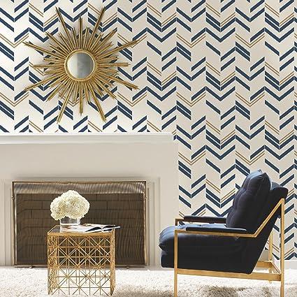 Roommates Blue Chevron Stripe Peel And Stick Wallpaper Amazoncom