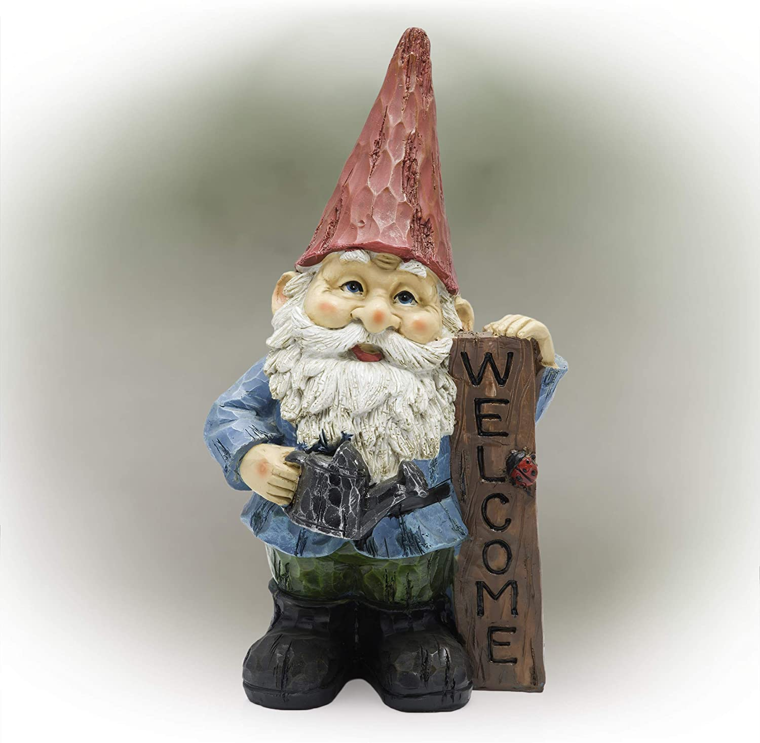 Alpine Corporation WQA1068 Alpine Garden Welcome' Sign Gnome Statue, Multicolor