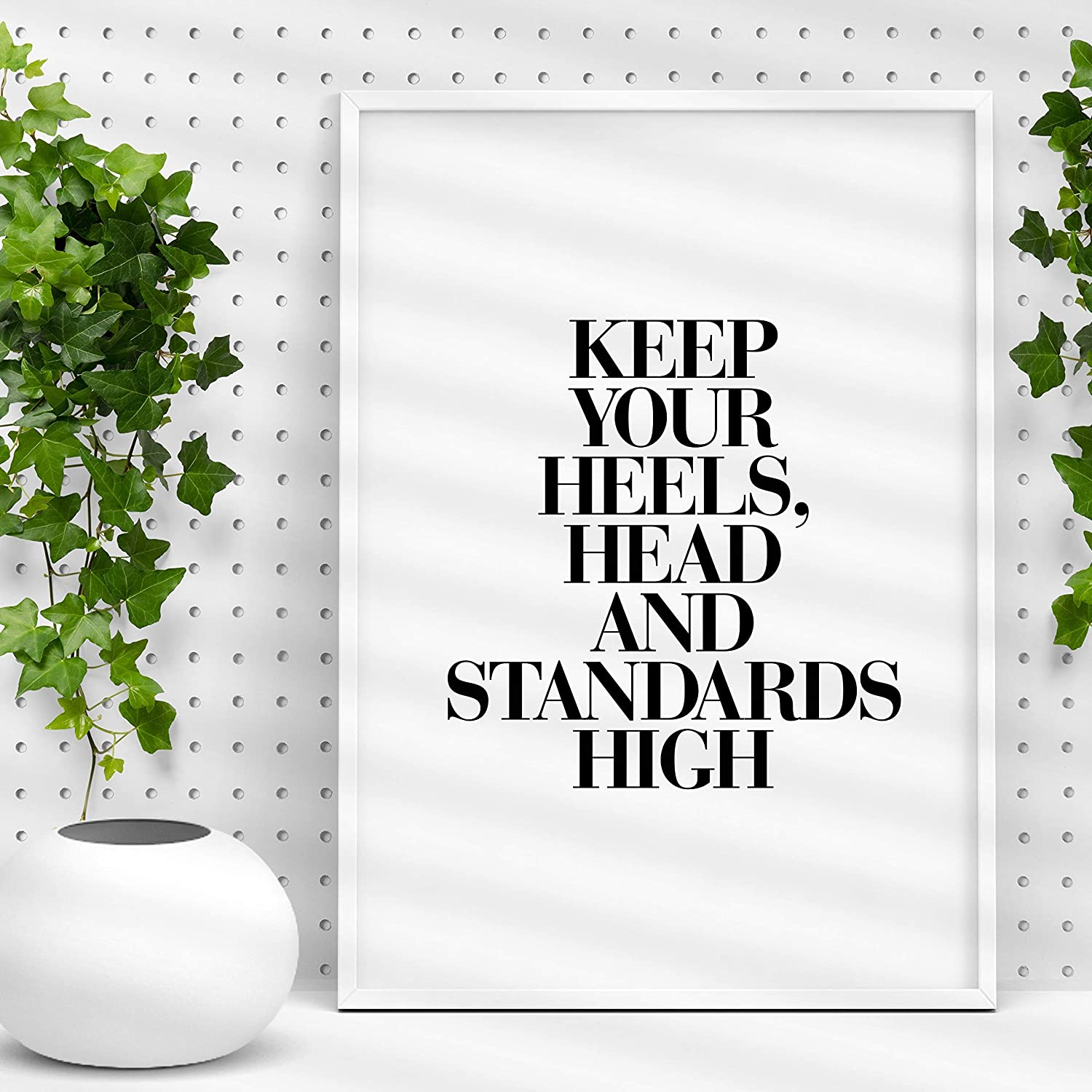 569cb6aa69476 Keep Your Heels, Head and Standards High - Coco Chanel Inspirational Print  Home Decor Typography Poster Black and White Wall Art