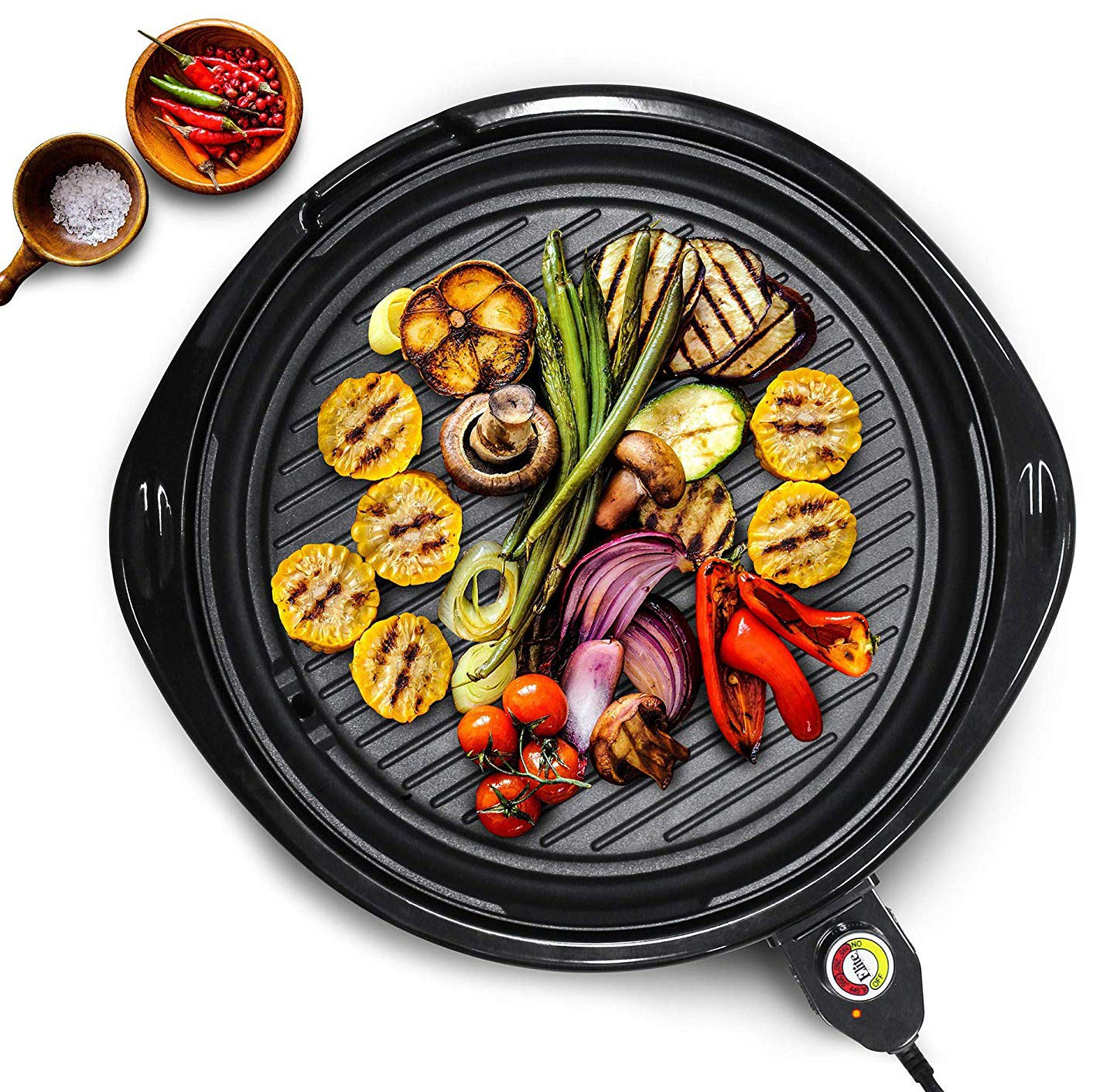 Maxi-Matic EMG-980B Indoor Electric Nonstick Grill Adjustable Thermostat, Dishwasher Safe, Faster Heat Up, Low-Fat Meals, Easy To Clean Design, Includes Glass Lid, 14'' Round, Black by Maxi-Matic