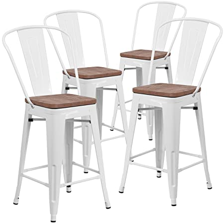 Taylor Logan 4 Pk. 24 High White Metal Counter Height Stool with Back and Wood Seat