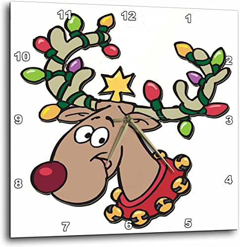 3dRose DPP_160535_3 Reindeer with Holiday Lighted Antlers Wall Clock, 15 by 15-Inch