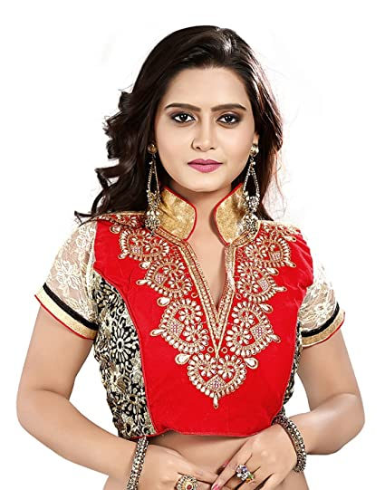 ca950dc53dac16 Heavy Saree Blouse Designer Velvet Red Embroidered Zari Work Women Ethnic  Wear Ready Made Stitched Blouse