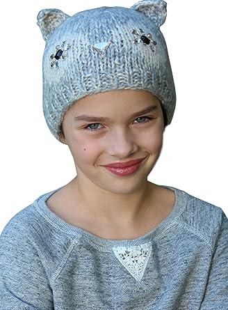 Girl s Knit Hat Warm Winter Beanie Chemo Cap alopecia Owl Animal Ages 3 To  8  Amazon.co.uk  Clothing c510b2c0f7bf
