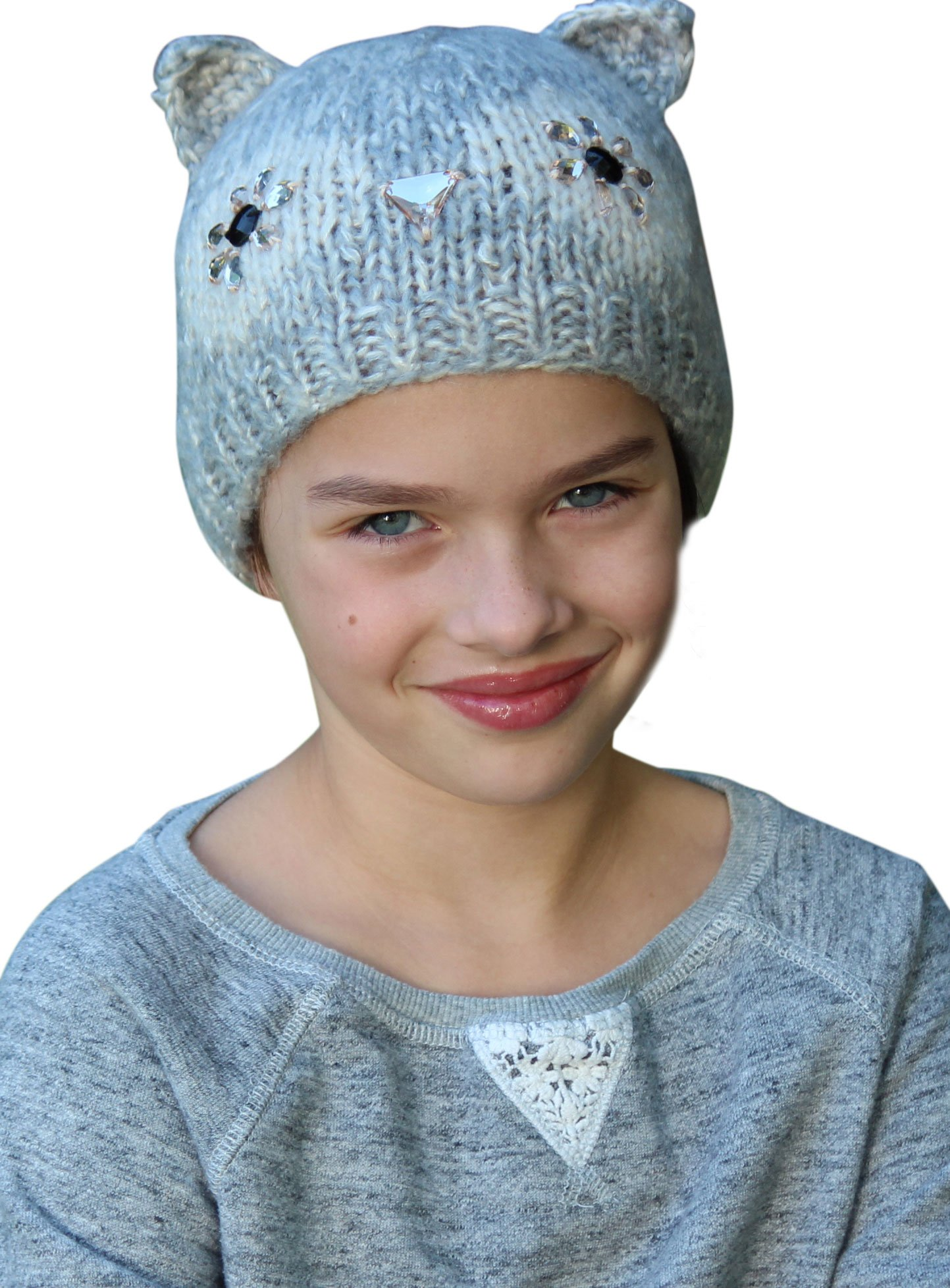 Girl's Knit Hat Warm Winter Beanie Chemo Cap Alopecia Owl Animal Ages 3 to 8 by Hats Scarves & More (Image #1)