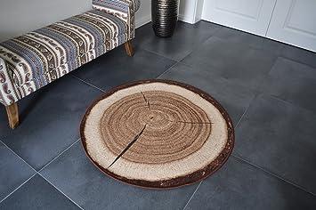 Design Teppich Rund Holz Baumstamm 133cm Baumscheibe Hr 1 Neu