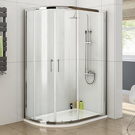 Ibathuk 1200 X 800 Left Quadrant 6mm Sliding Glass Shower Enclosure