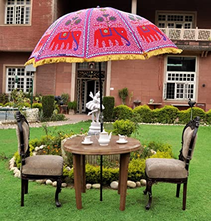 Lalhaveli Rajasthani Elephant Design Sun Parasol Garden Umbrella 52 X 72 Inches