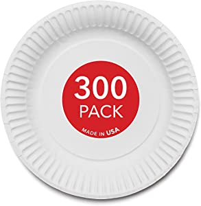 Stock Your Home 9-Inch Paper Plates Uncoated, Everyday Disposable Plates 9