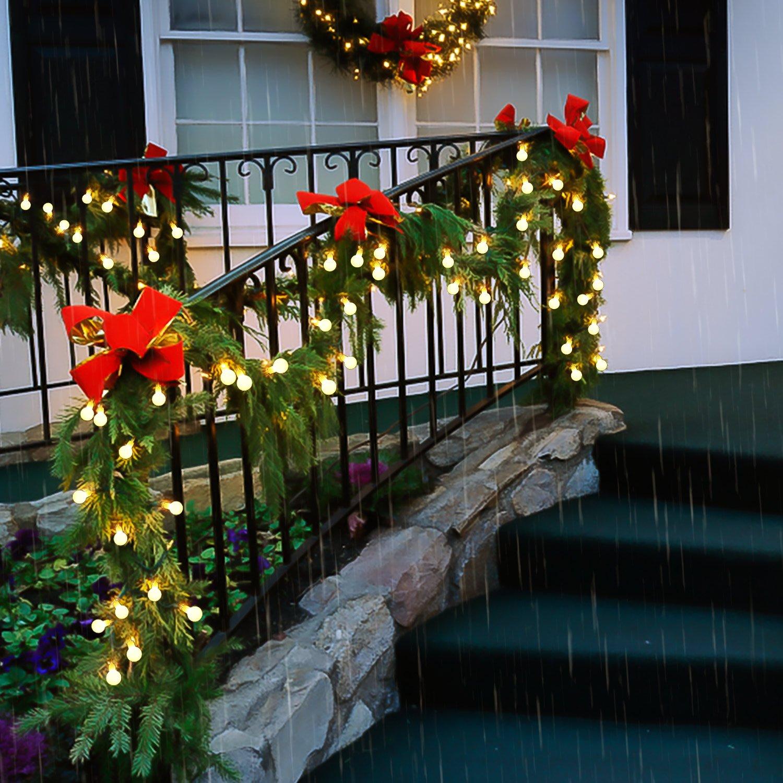 Cadena de Luces, REDU Cadena de Bombillas5m, tipo esferico, resistente al agua, 50 bombillas blancas calidas, adornos navidenos, festivales, interiores, ...