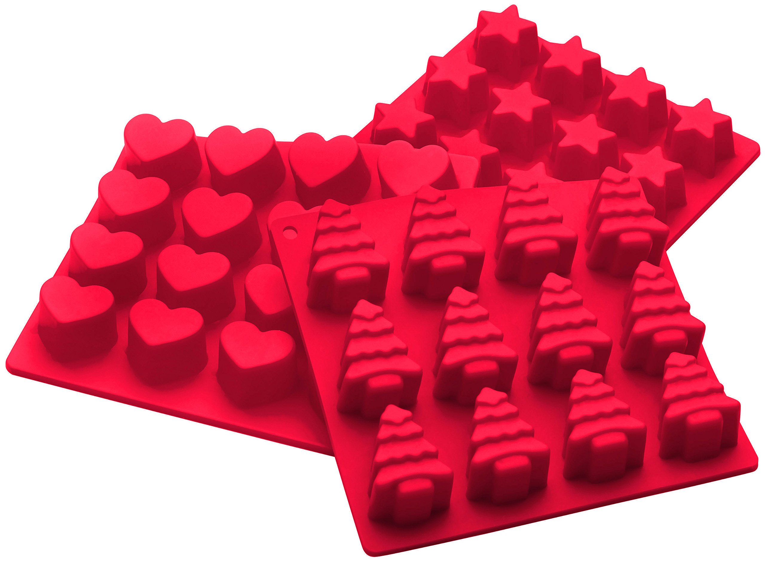 StarPack Premium Silicone Christmas Candy Molds (3 Pack) High Heat Resistant to 600°F, Perfect for Holiday Candies, Chocolates, Soap, Gummies, and Ice by StarPack Home