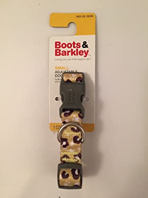 Boots & Barkley Small Adjustable Dog Collar, Yellow and Brown Spots and Paw Prints