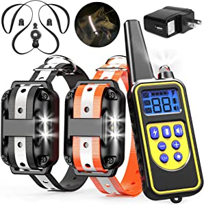 Veckle Dog Training Collar, 2600ft Rechargeable Shock Collar for 2 Dogs Waterproof Dog Shock Collar with Remote, LED Light, Beep, Charger, Vibration Dog Electronic Collar for Large and Medium Dogs