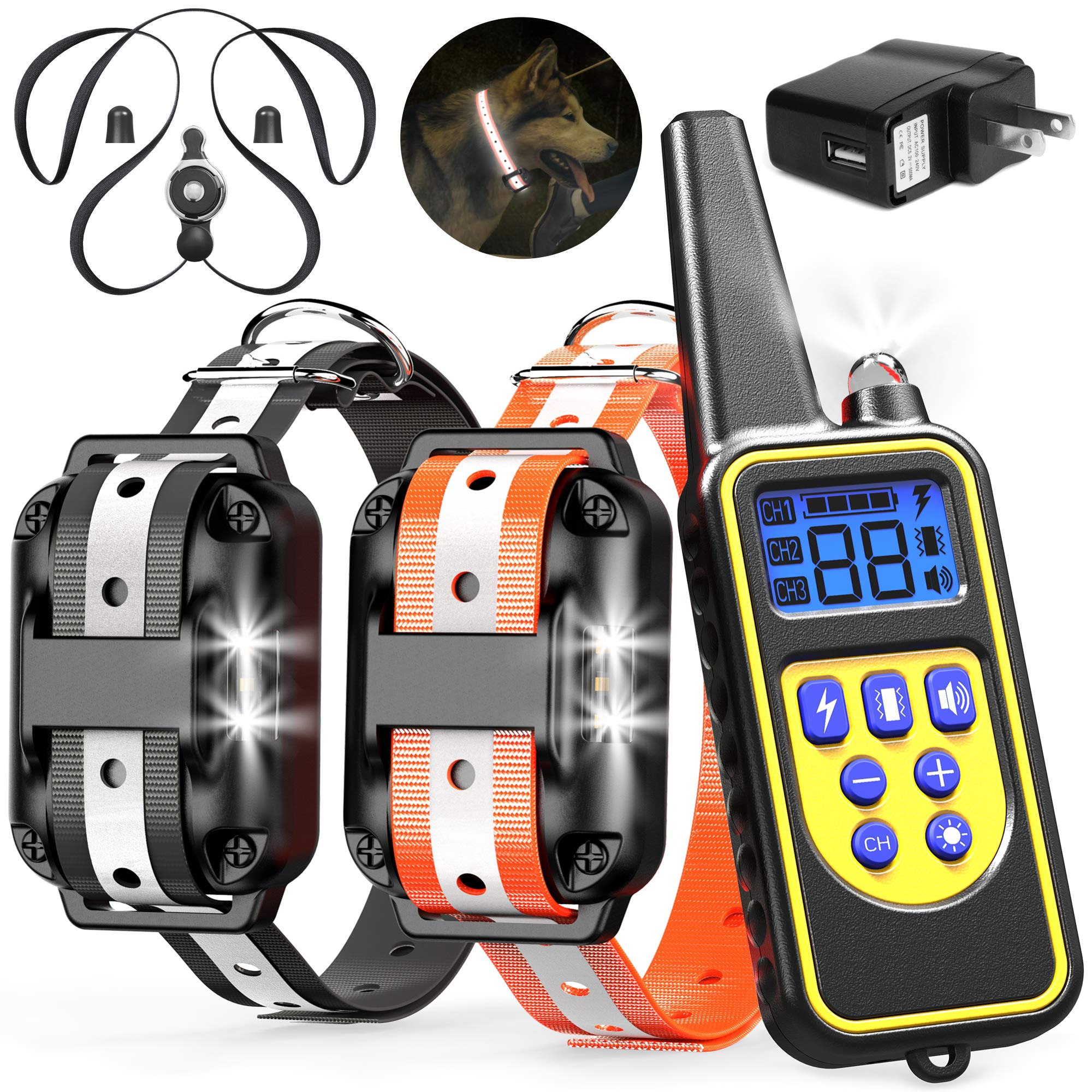 Veckle Dog Training Collar, 2600ft Rechargeable Shock Collar for 2 Dogs Waterproof Dog Shock Collar with Remote, LED Light, Beep, Charger, Vibration Dog Electronic Collar for Large and Medium Dogs by Veckle