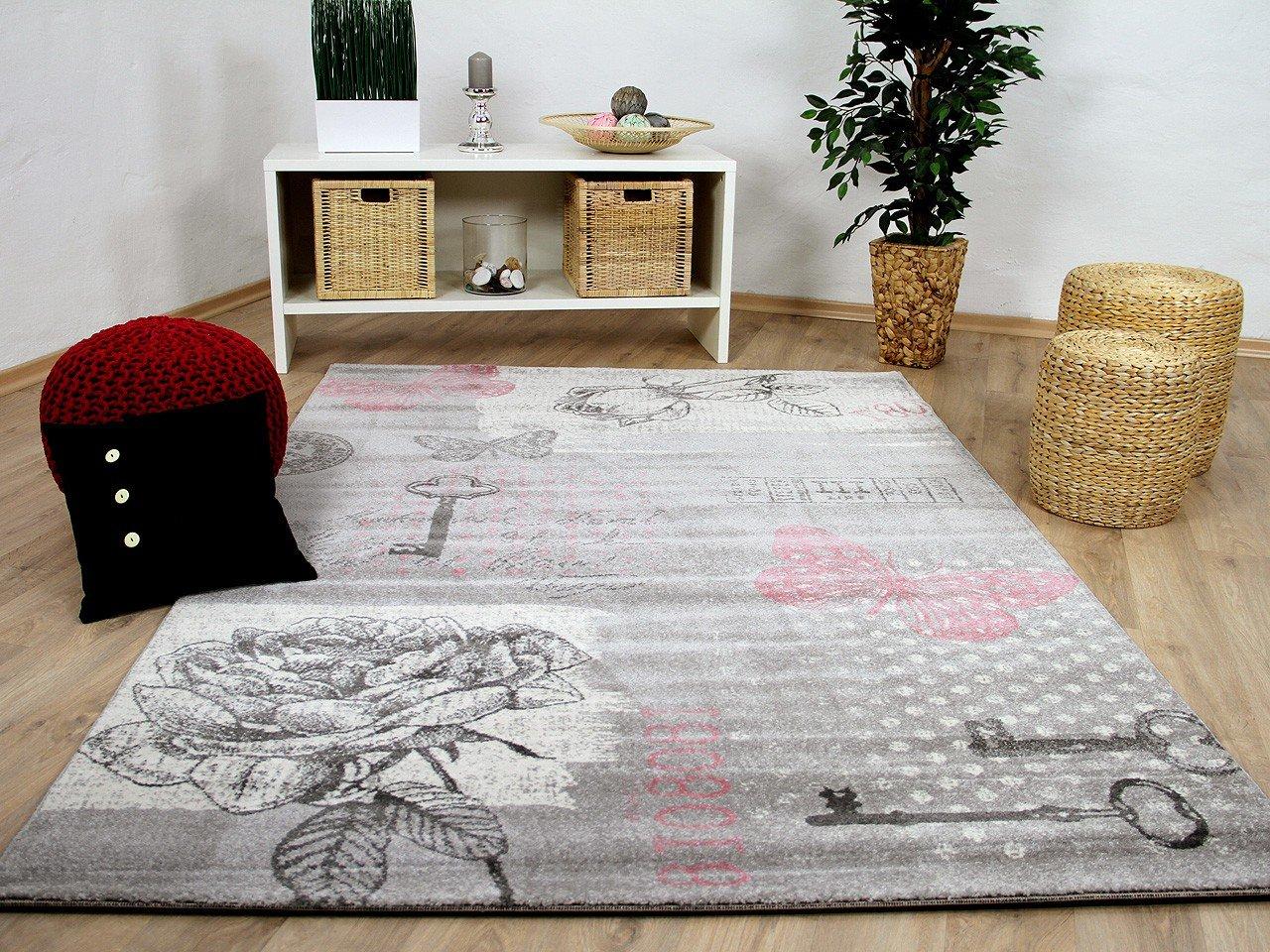 Sevilla Sevilla Sevilla Designer Teppich Klassik Grau Rosa Schmetterling in 5 Größen 7f83ee