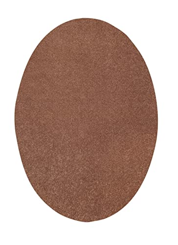 Bright House Area Rug, 6 x 9 , Oval, Solid Color Brown