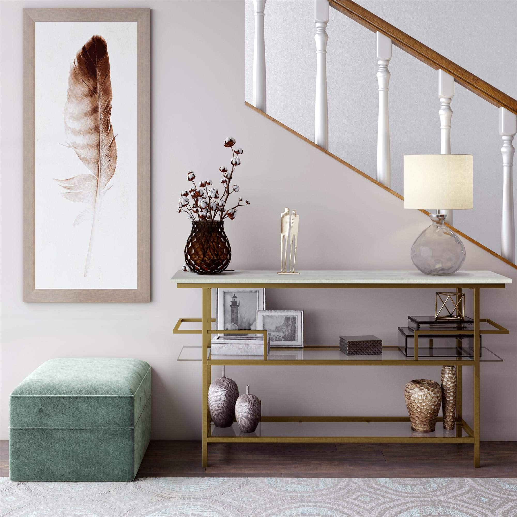 CosmoLiving Lennox Modern Design Console Table Faux Marble Top Warm Gold Frame and Tempered Glass, White - Brass