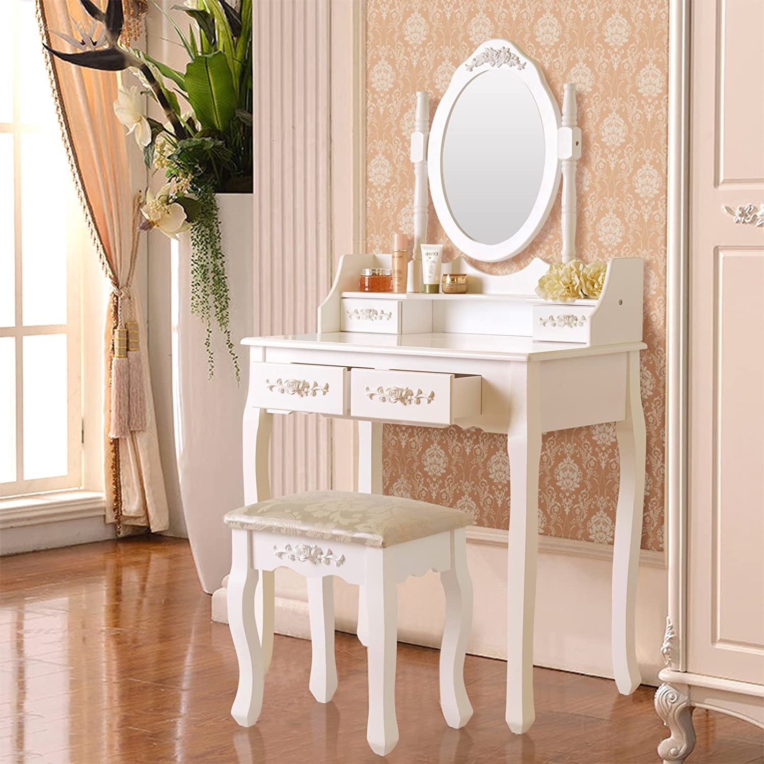 Amazon.com: Elegance Vanity Makeup Table Set 4 Strawers Dressing Table With  Stool ,White: Kitchen U0026 Dining