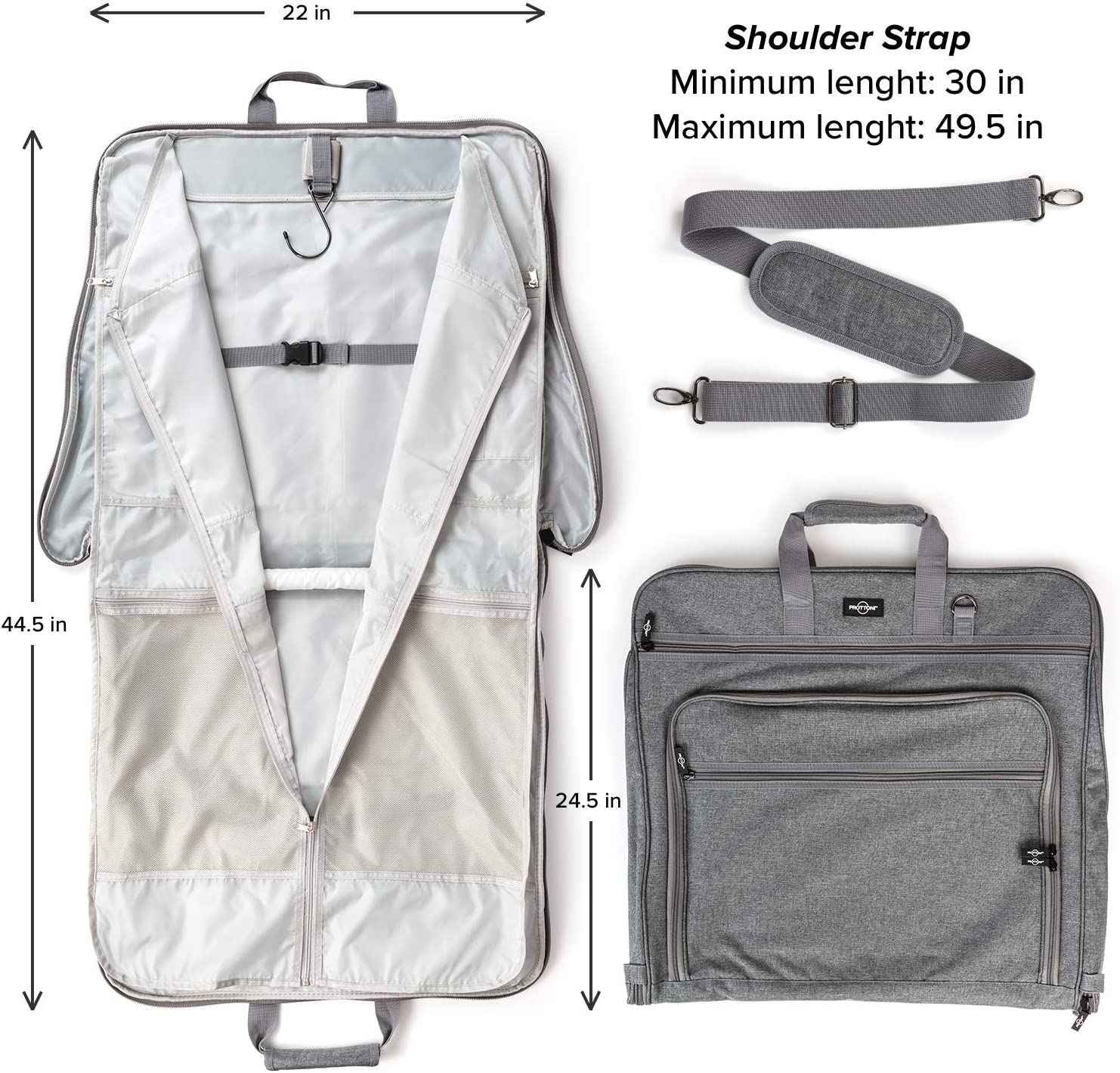 Garment Suitcase With Toiletry Bag Black + Clear Toiletry Bag, 44 Prottoni 44-Inch Suit Carrier For Travel