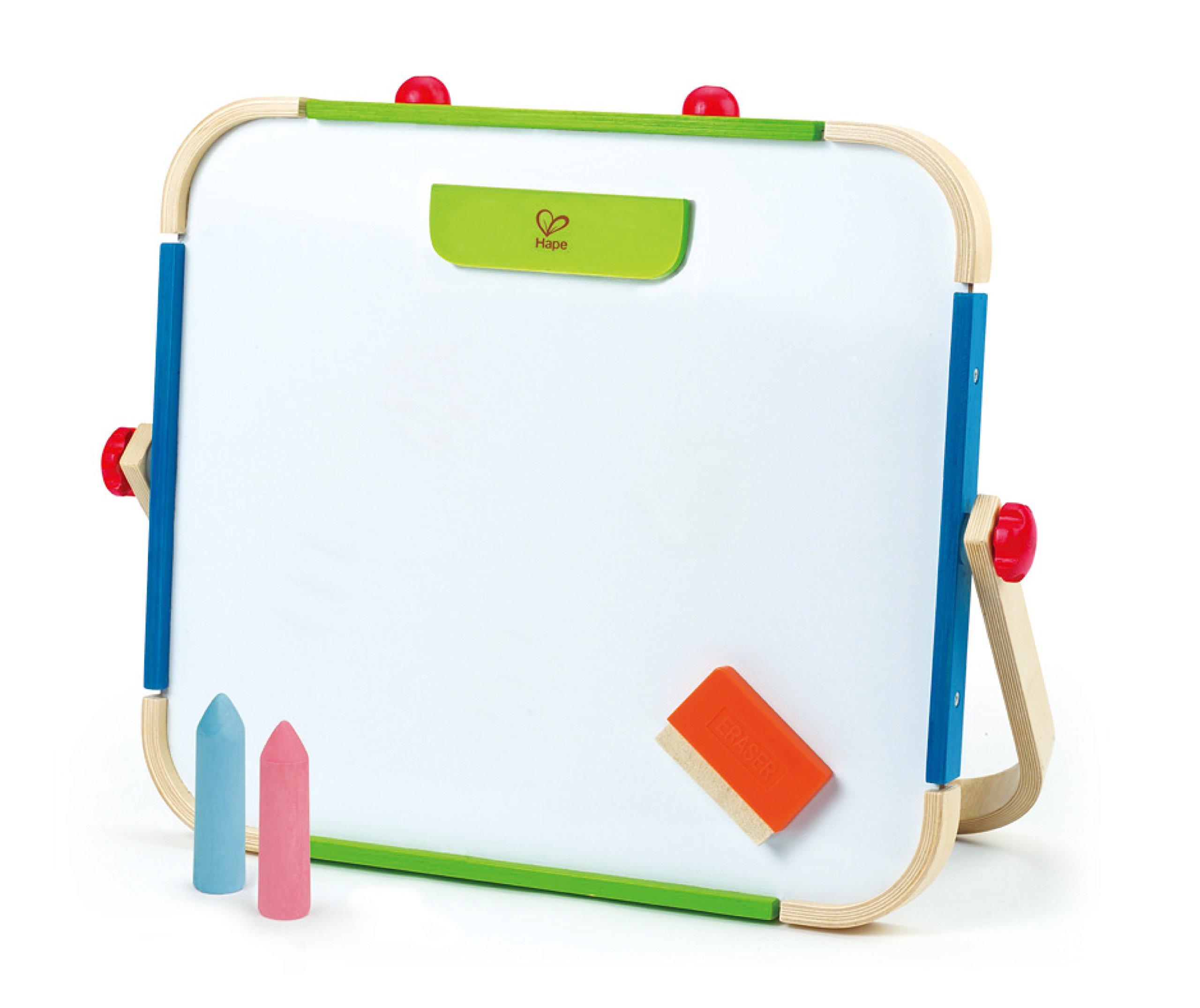Hape Early Explorer Anywhere Table Top Art Studio by Award Winning Double-Sided Wooden Kids Easel Whiteboard/Chalkboard with 2 Chalk Pieces, Eraser and Magnetic Wood Clamp for Paper