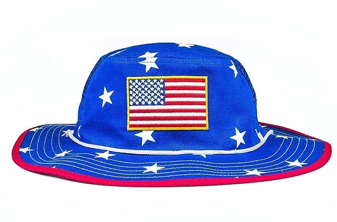 Cowbucker Mesh USA Boonie Sun Hat (Wide Brim) - Red 049f2c1f9f3d