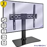 "Invision® TV Stand For 32 – 55"" TV Screens - RS400 ScreenStation Table Top TV Pedestal Bracket with Tilt Swivel & FreeMotion Technology – Tempered Glass Base with Anti-Slip Feet [Max VESA 400x400mm]"