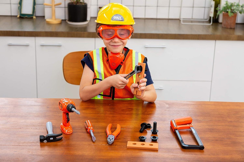 Cadeau de Jouet Educatif pour No/ël et Anniversaire JOYIN Costume de Travailleur de Construction Ensemble de Jouets pour Jeux de R/ôle pour Enfants de 3 /à 6 Ans