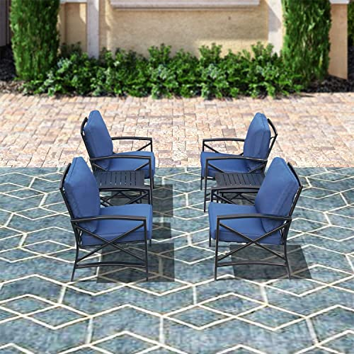 Top Space 6PCS Patio Conversation Sets Outdoor Furniture Set Thick Padded Cushion Soft Seat Metal Steel Frame Side Table Sofa Chair Bistro