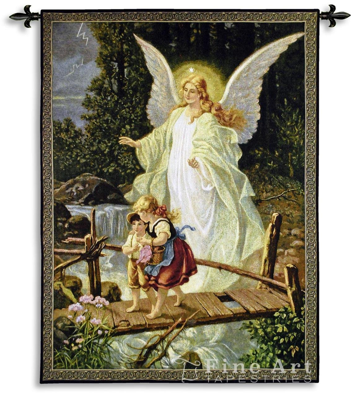 Fine Art Tapestries ''Guardian Angel 1900'' Wall Tapestry by Fine Art Tapestries