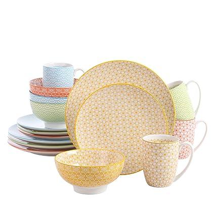 vancasso Natsuki, Combinación Vajilla de Porcelana 32 Piezas Juego de Vajillas Estilo Japonés,con 8 Tazas de Café, Tazon de Cereal, Platos de Postre y ...