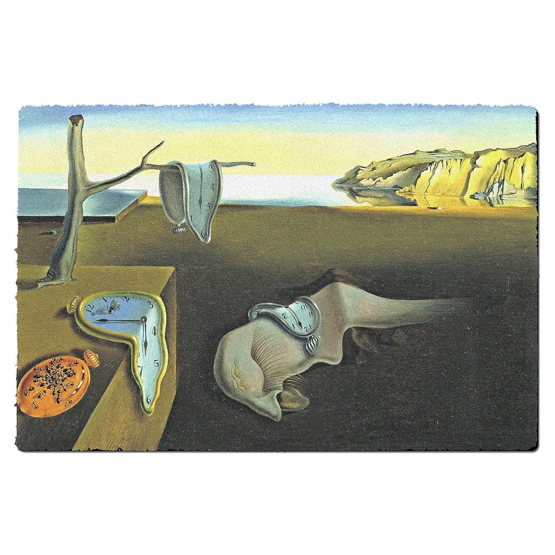 Relojes de fusión Salvador Dalí Fine Art alfombrilla de puerta - interior al aire libre neopreno y lavable a máquina, caucho, Multicolor, Large Door Mat: ...