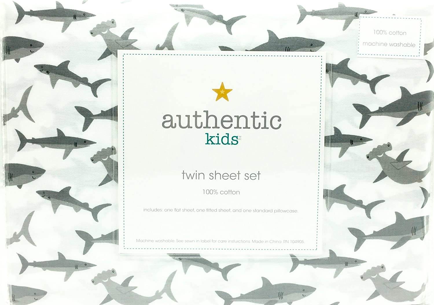 amazon com authentic kids happy sharks all cotton twin size sheet
