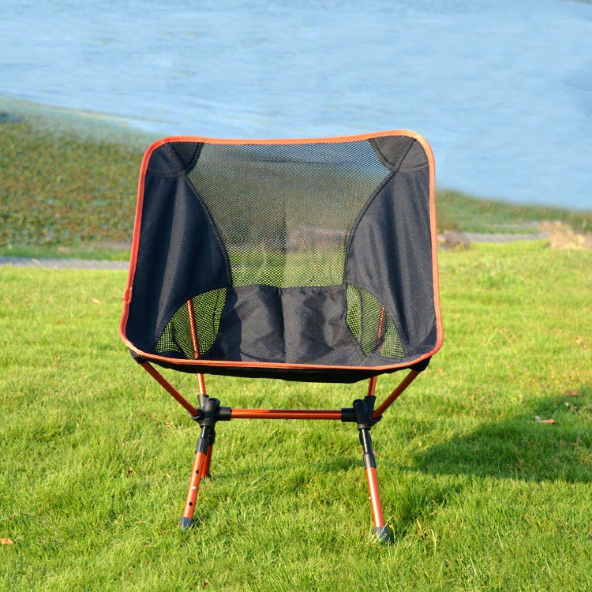 CHENGXIAOXUAN Im Freien Klappstühle Leicht Tragbar Aluminium Mond Stuhl Skalierbare Luftfahrt-Aluminium Angeln Liegestühlen Mit Einer Tasche,Orange