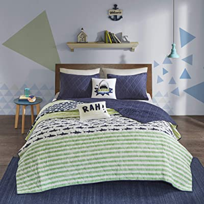 Urban Habitat Kids Finn Full/Queen Bedding Sets Boys Quilt Set - Green, Navy , Shark Stripe – 5 Piece Kids Quilt For Boys – 100% Cotton Quilt Sets Coverlet: Home & Kitchen