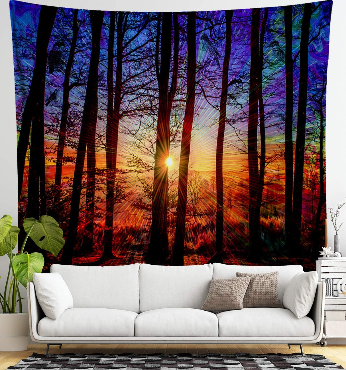 Lucid Eye Studios Sunrise Forest Tapestry- Red, Blue, Purple Wall Decor- Hidden Imagery- Woodland Bird Decor- Nature Wall Art for Bedroom, Dorm, Festivals 84 x 72 inches