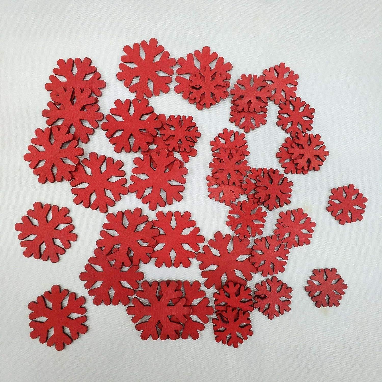 YZZSJC Copo De Nieve De Navidad Protección del Medio Ambiente De Madera Copo De Nieve Copo De Nieve Decoración del Día De Navidad Colgante Hueco Copo De Nieve Viruta De Madera Venta Rojo-4cm